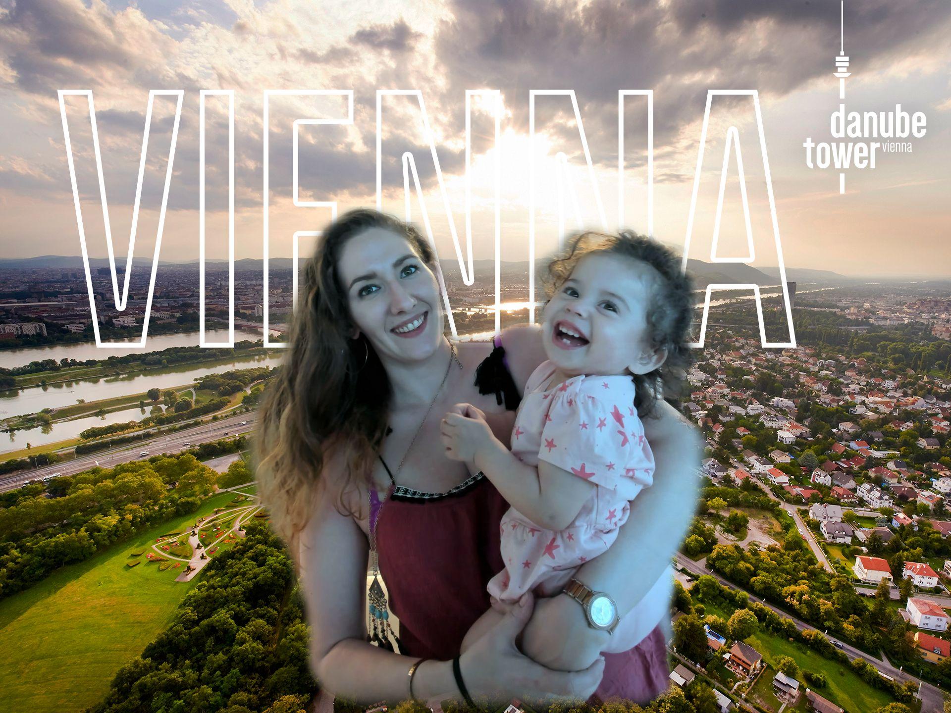 Single mum and toddler at donau tower
