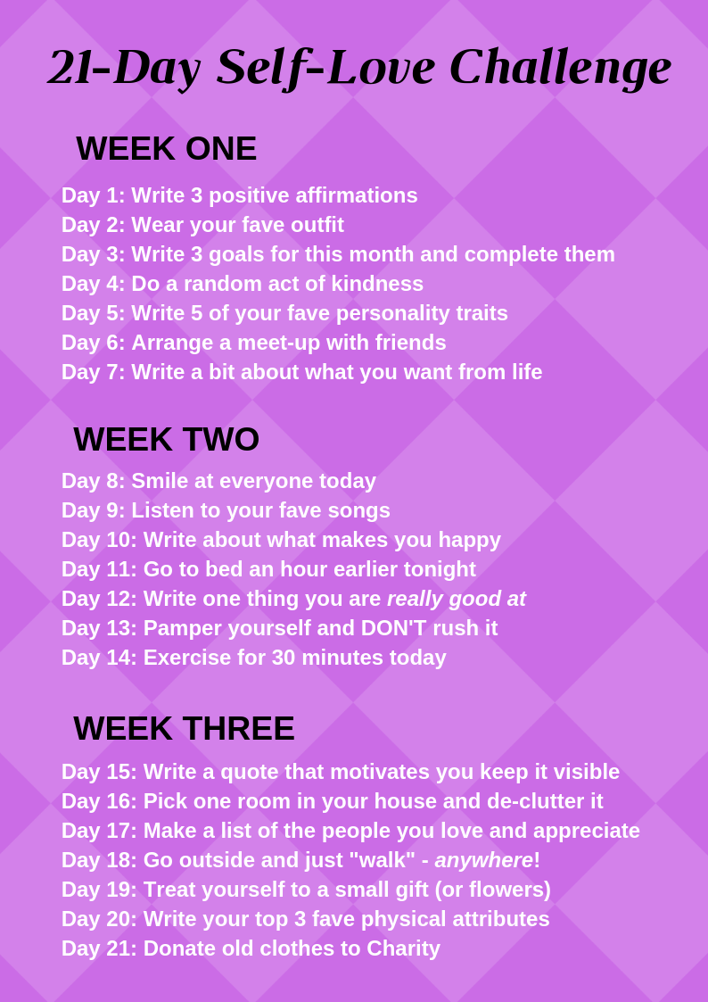 Self-Love Challenge Cheat Sheet