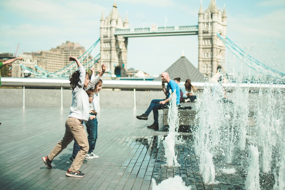 children playing outside in london