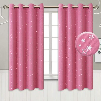 star curtains pink