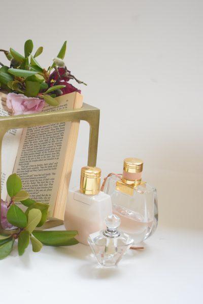 perfume near book